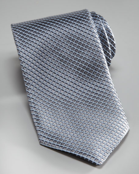 Micro-Square Silk Tie, Silver