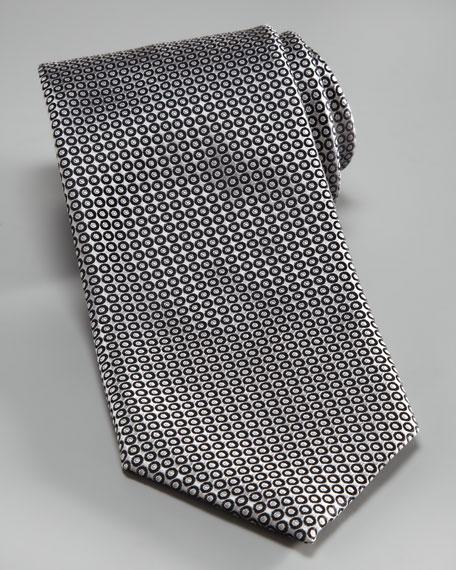 Micro-Circles Silk Tie, Gray