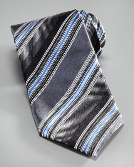Textured Fancy-Stripe Silk Tie, Gray