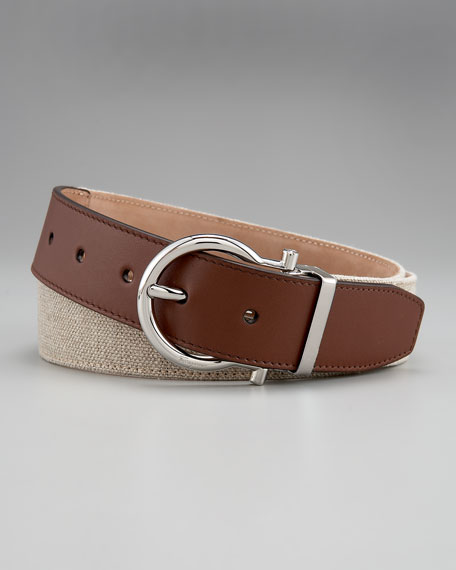 Linen/Leather Gancini Belt