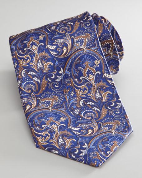 Silk Paisley Tie, Blue/Brown