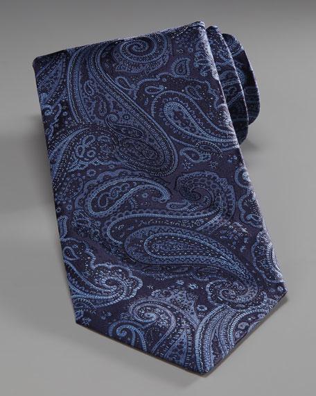 Paisley Silk Tie, Black/Blue