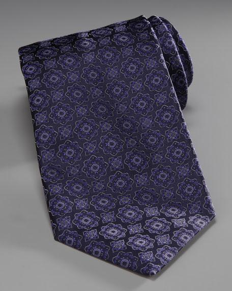 Medallion Silk Tie, Blue/Black