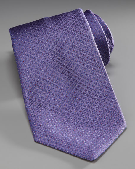 Grid Silk Tie, Purple