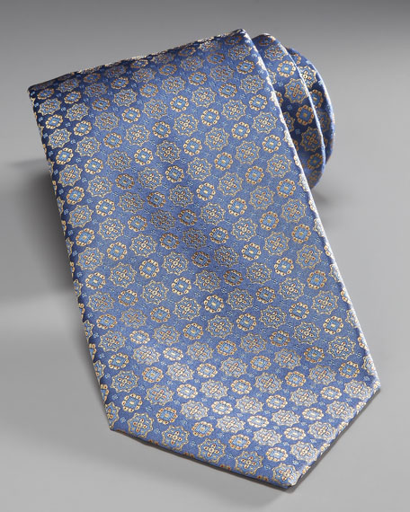 Medallion Silk Tie, Blue/Yellow