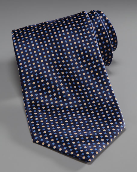 Grid & Dot Silk Tie, Navy/Gold