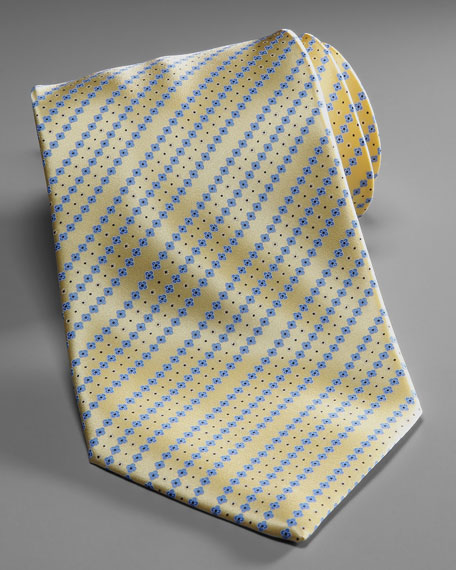 Floral-Stripe Silk Tie, Yellow/Blue