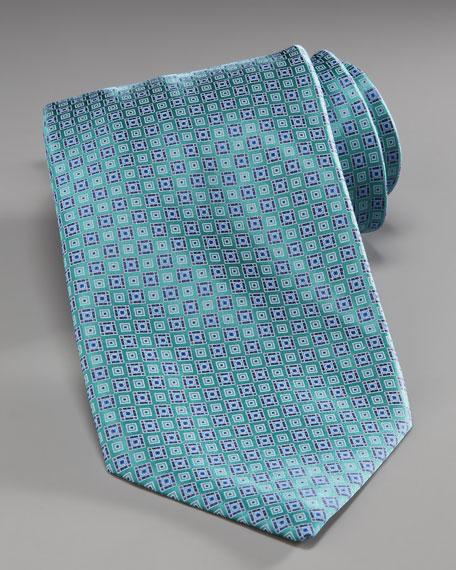 Diagonal-Squares Silk Tie, Blue/Green