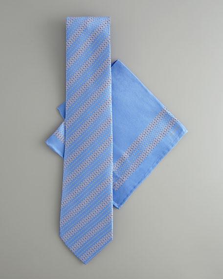 Striped Silk Tie & Pocket Square Set, Blue