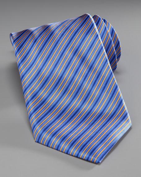 Striped Silk Tie, Blue/Yellow