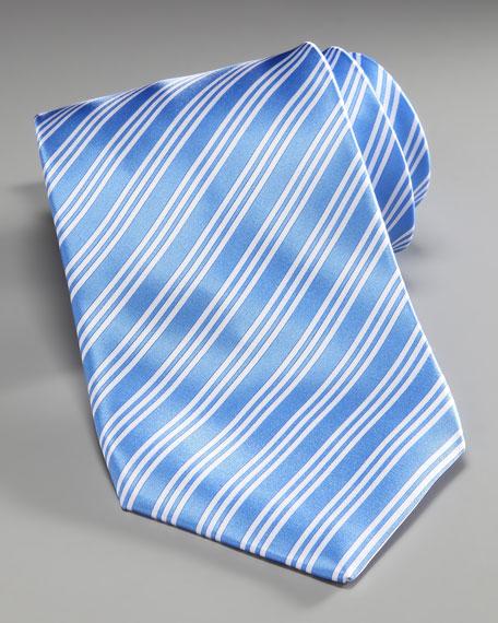 Striped Silk Tie, Blue/White