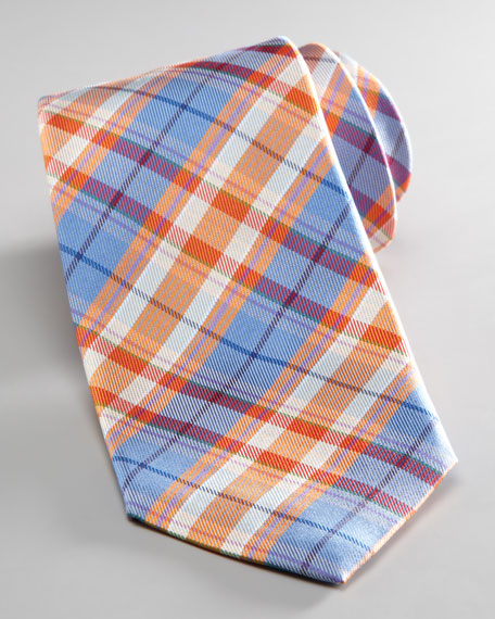 Plaid Silk-Linen Tie, Multi
