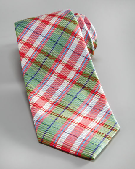 Plaid Silk-Linen Tie, Multi