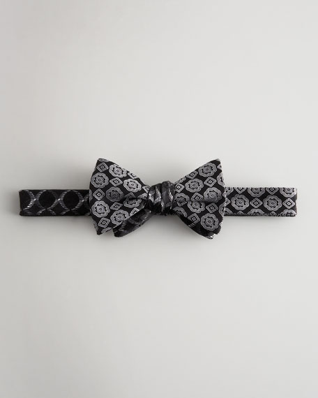 Medallion-Print Bow Tie, Black