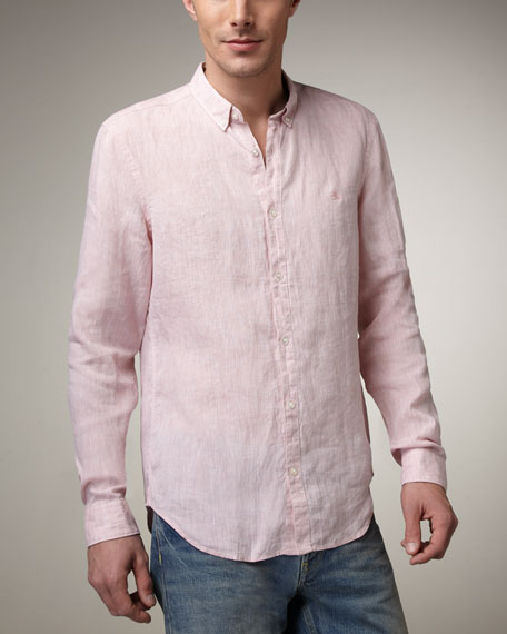 Button-Down Linen Shirt, White