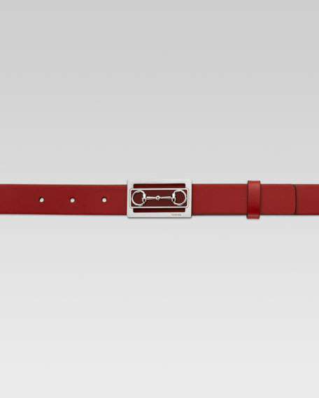 Bit-Buckle Leather Belt, Maroon