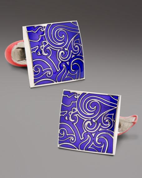 Square Paisley Cuff Links, Purple
