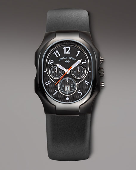 Chronograph Watch on Rubber Strap, Black