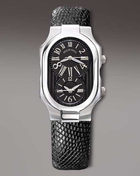 Stainless Steel Watch with Lizard Strap