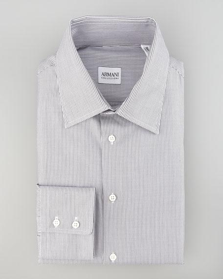 Micro-Stripe Dress Shirt, Gray, Modern Fit
