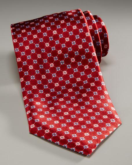 Flower Tie, Red/Blue
