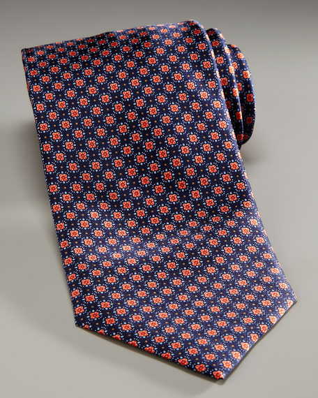 Flower Tie, Navy/Orange