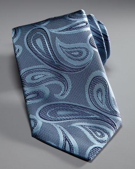 Paisley Silk Tie, Slate Blue