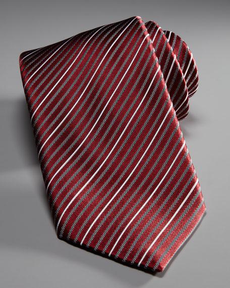 Mini-Stripe Silk Tie, Red/Gray