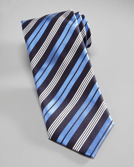 Varsity-Stripe Silk Tie, Black/Blue
