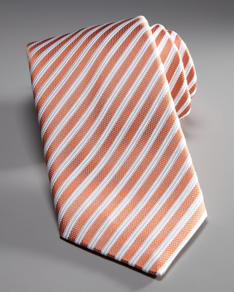 Striped Silk Tie, Orange/White