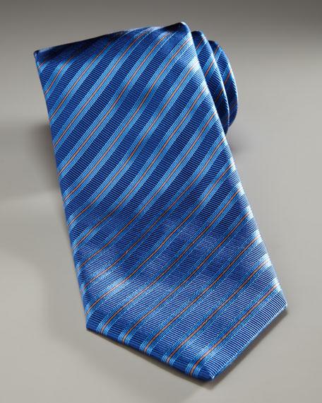 Striped Silk Tie, Blue/Orange