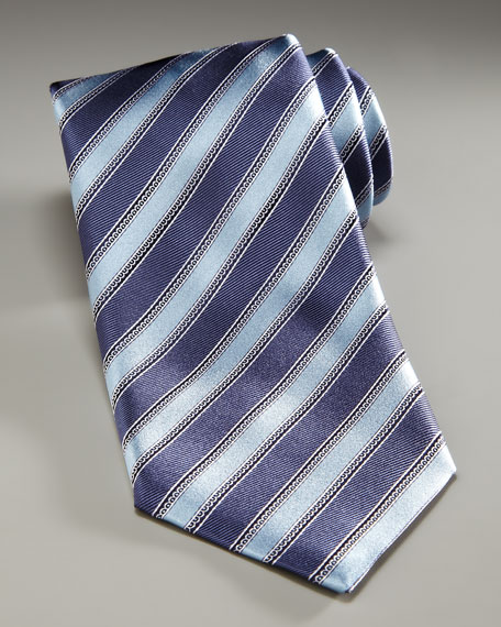 Striped Silk Tie, Slate