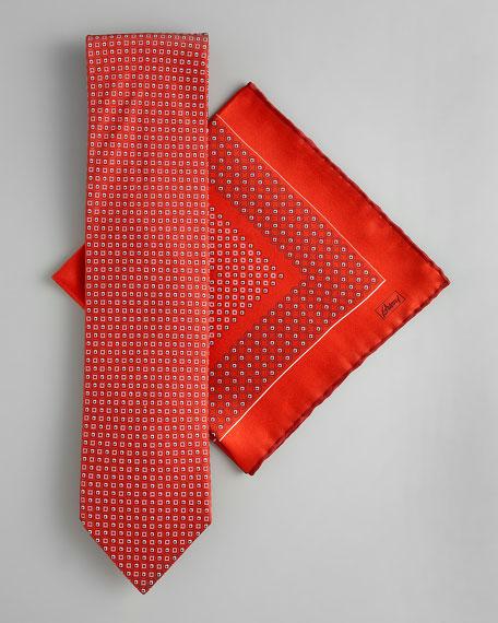 Circle-Square Neat Tie & Pocket Square Set