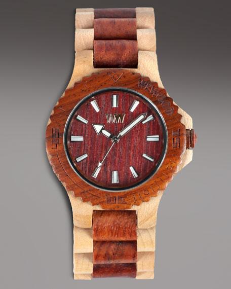 Wooden Watch, Brown/Beige