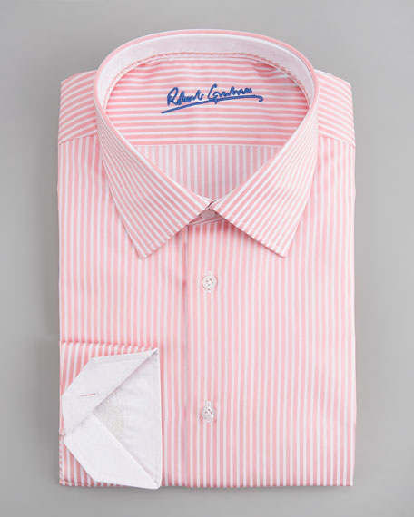 Alfie Striped Dress Shirt, Pink/White