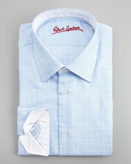 Roger Mini-Check Dress Shirt, Blue