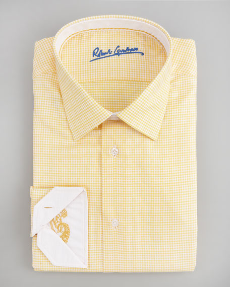 Roger Mini-Check Dress Shirt, Yellow