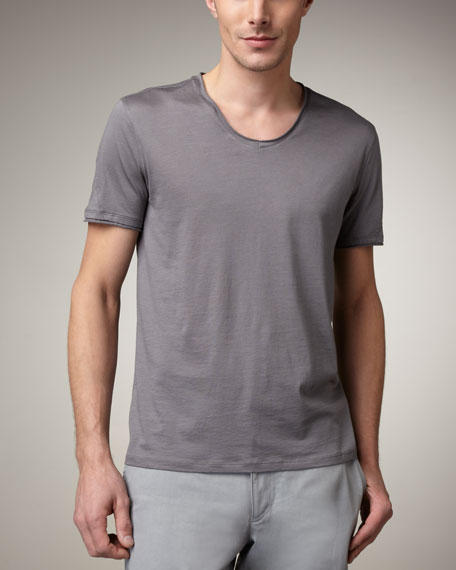 V-Neck Pima Tee, Pavement