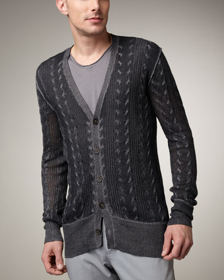 Cable-Knit Linen Cardigan