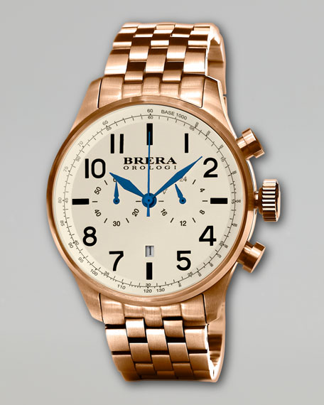 Eterno Chronograph Watch, Brown/Rose Gold