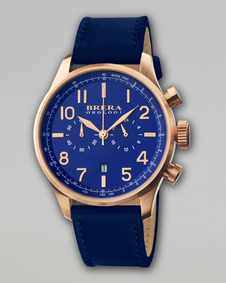 Classico Chronograph Watch, Navy/Gold