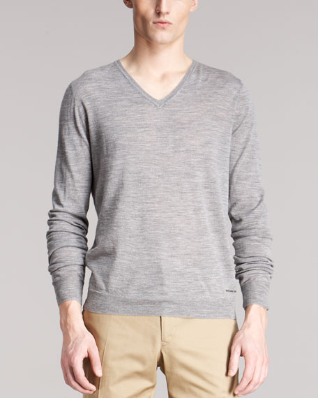 Check-Shoulder Wool Sweater, Mid Gray Melange
