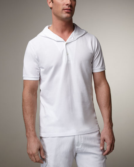 Hooded Pique-Knit Polo