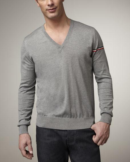 Flag-Sleeve Sweater, Heather Gray