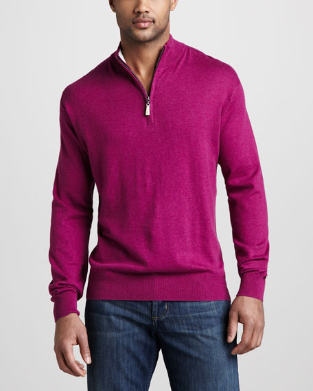 Quarter-Zip Cotton Sweater, Raspberry