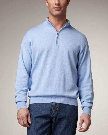 Quarter-Zip Cotton Sweater, Light Blue