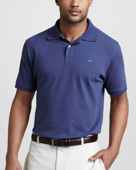 Signature Pique-Knit Polo, Sport Navy