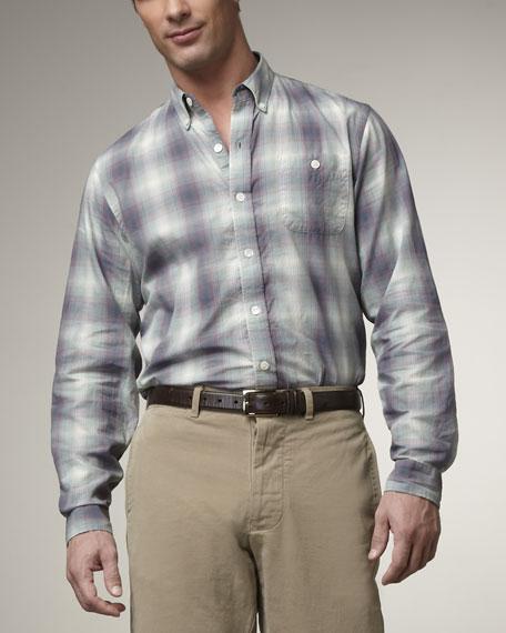 Plaid Button-Down Shirt, Purple