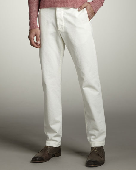 Officer Selvedge Chino Pants, White