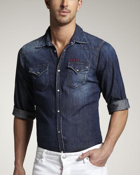 Short-Sleeve Denim Shirt